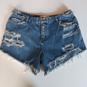 "Vintage Rt. 66 Distressed Jean Shorts 34"" Women 12"